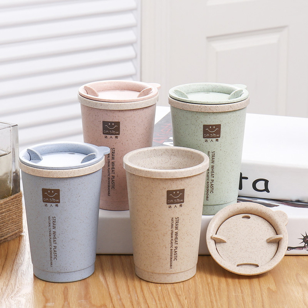 Us 3 74 23 Off New Wheat Straw Plastic Coffee Cups Travel Mug With Lid Easy Go Cup Portable For Outdoor Camping Hiking Picnic L3 In