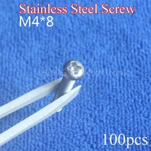 M4*8 304 Stainless Steel Screws Cross Recessed Pan Head PM Phillips length 8mm diameter 4mm 100Pcs