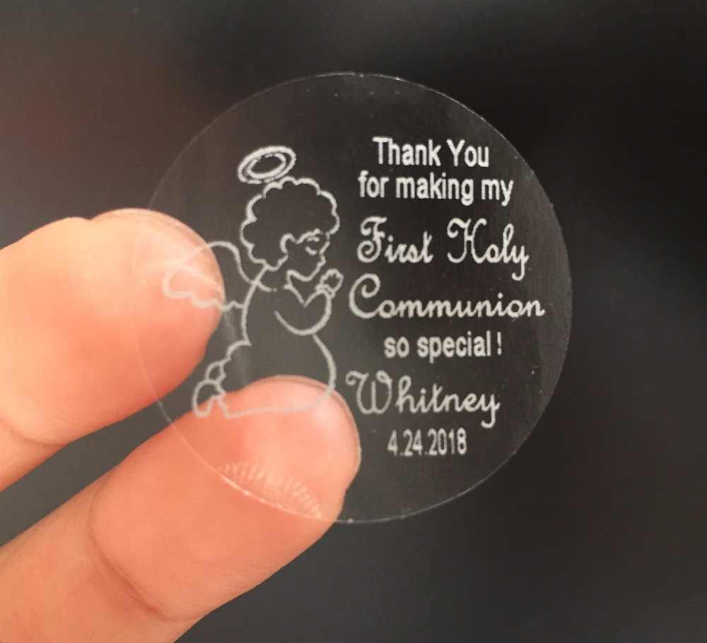 90 Personalized custom text 1st first holy communion thank you stickers with Angel souvenirs gifts favors