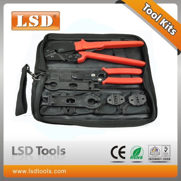 Optical fiber crimping tool set AP-K2546B crimping tool kit solar pv tool,wire stripper combined  MC4 crimping tool set pz0 5 16 0 5 16mm2 crimping tool bootlace ferrule crimper and 1k 12 awg en4012 bare bootlace wire ferrules