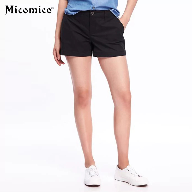 2018 Trendy Women Vintage High Waist Shorts S-5XL Lady Casual Summer Short Pants Trousers Black Color Big Plus Size