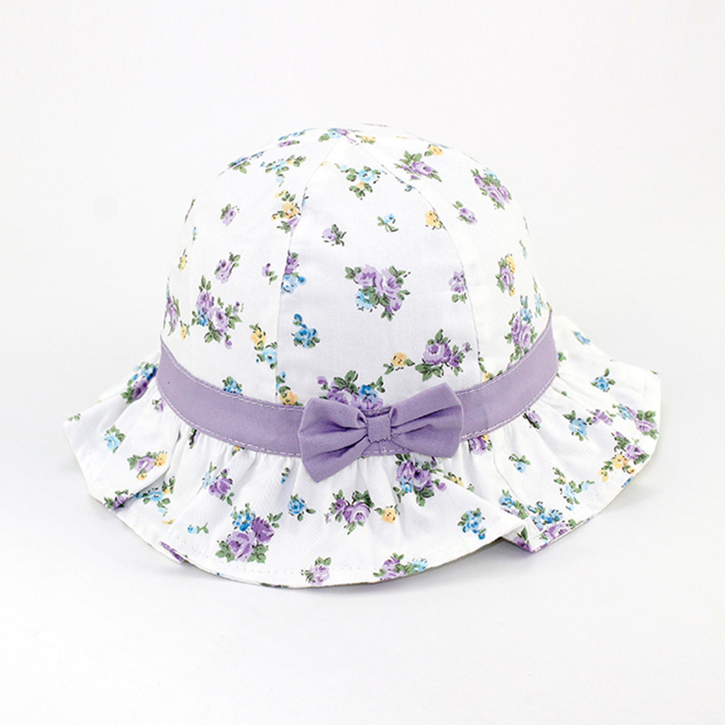 baby & kids girls summer floral print cute bow cotton casual sun hat bucket hat children fashion purple pnk ruffle play hat caps new spring summer kids fashion caps children boys girls casual cotton letter baseball caps adjustable hip hop snapback sun