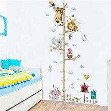Мультяшные животные, Лев, обезьяна, Сова, слон, измеряющая рост Наклейка на стену для детской комнаты, диаграмма роста, декор для детской комнаты, настенное искусство