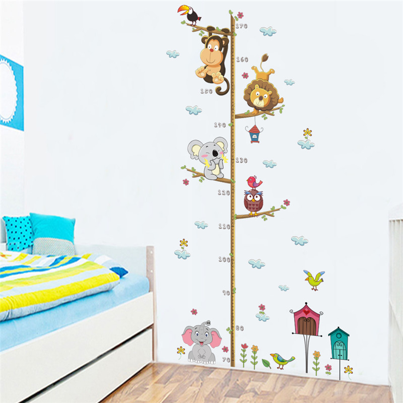 Cartoon Animals Lion Monkey Owl Elephant Height Measure Wall Sticker For Kids Rooms Growth Chart Nursery Room Decor Wall Art(China)
