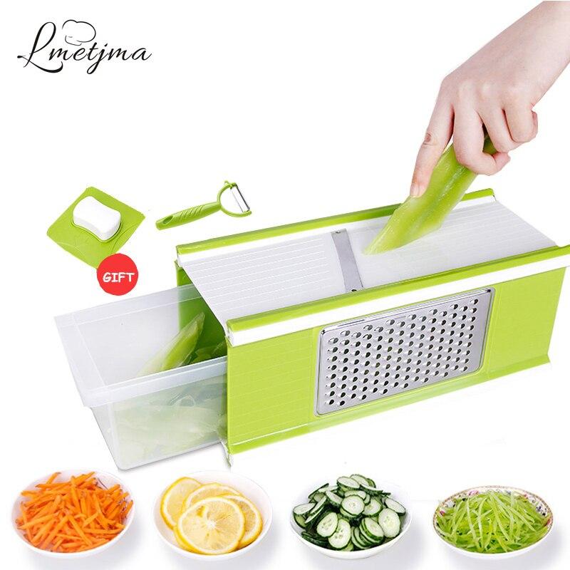 LMETJMA 4 Side Multifunctional Vegetable Slicers Cutter With Container Fruit Carrot Slicer Salad Maker Vegetable