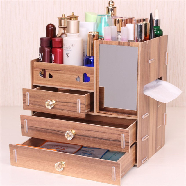Urijk Wooden Makeup Storage Box With Mirror Cosmetic Lipstick Boxes  Sundries Case Small Objects Box Wholesale