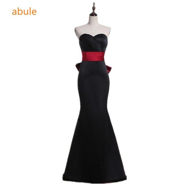58924c06aa2 Abule Longue robe de soirée Chérie little black robes rouge Ruban sirène  Parti Robe robe de