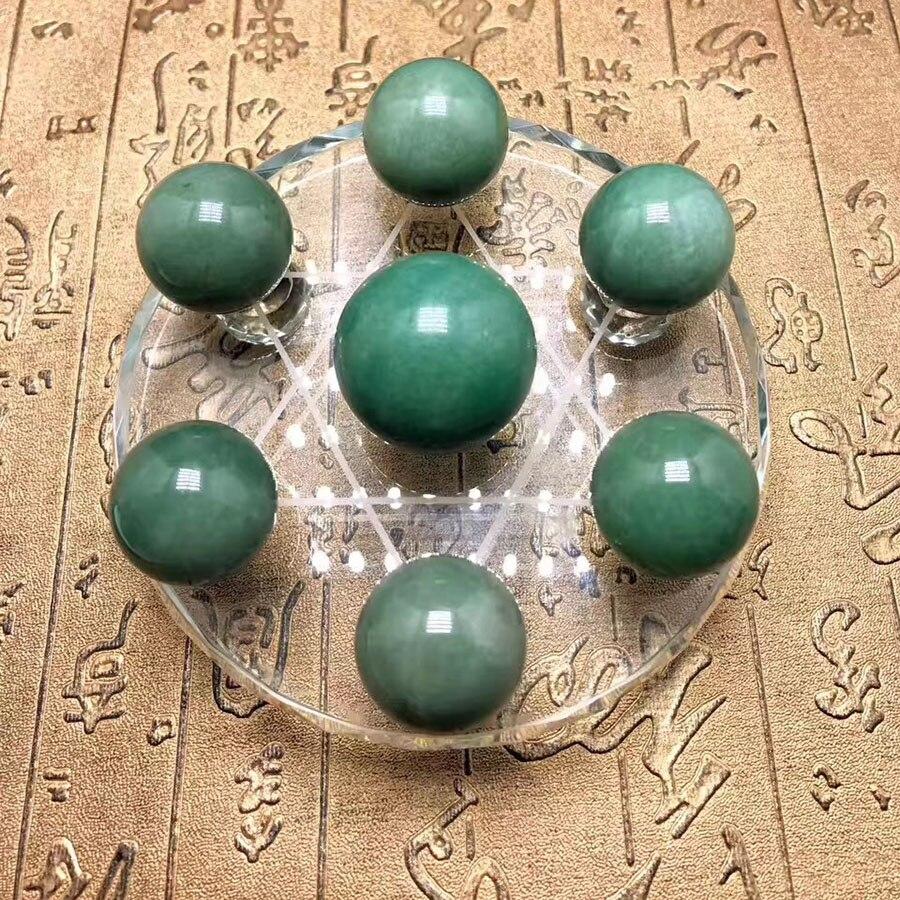 100% perles rondes de jade à sept étoiles en forme de tableau de jade naturel 26 mmguérison + châssis (verre)
