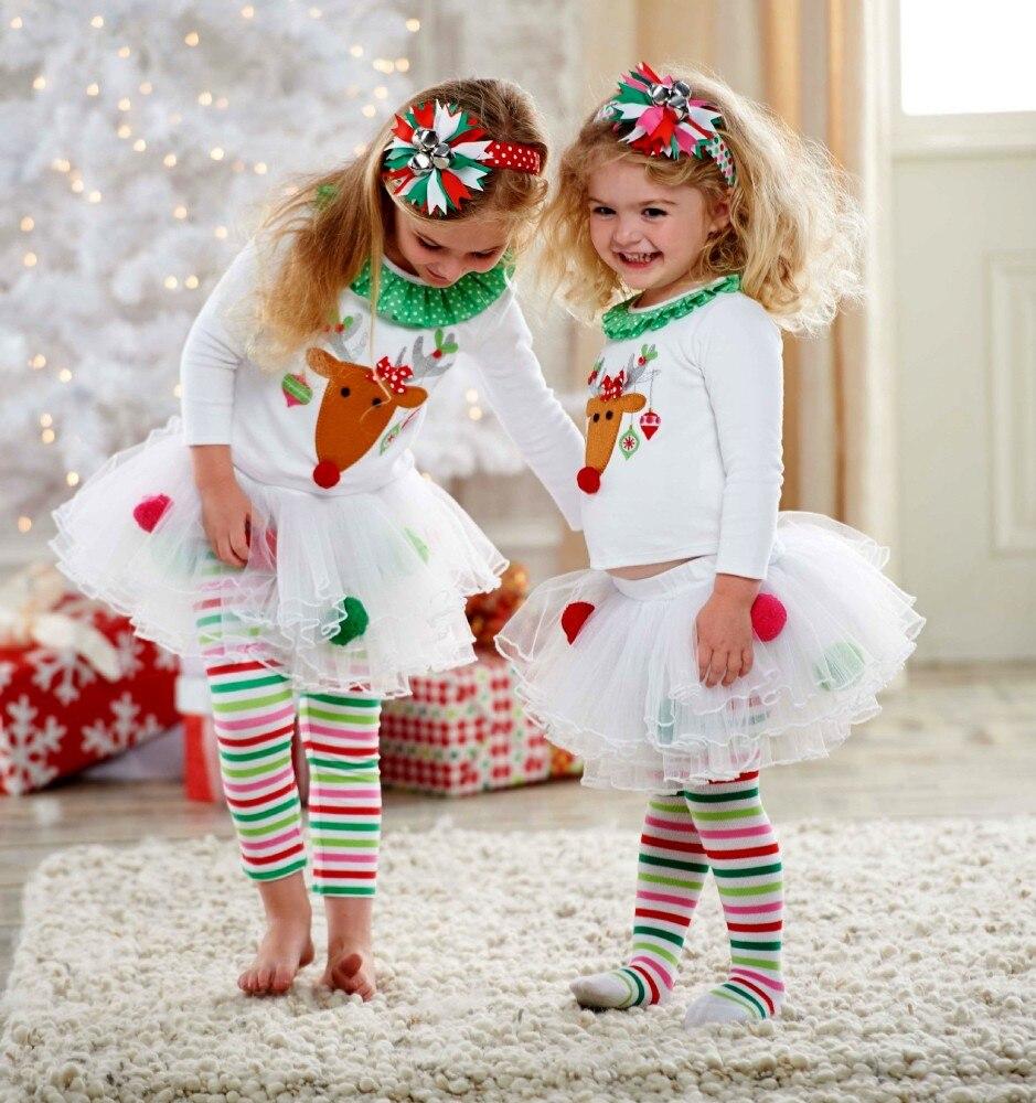 Christmas Toddler Baby Kid Girl Clothing Set  Children Xmas Set Reindeer Tops Tutu Skirts Dress Outfits Kid Costuems