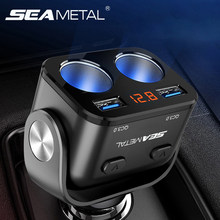 Car Cigarette Lighter Socket Splitter Charger Dual USB QC 3.0 Quick Charge 12V Auto Cigarette Lighter Sockets Power Adapter Plug(China)
