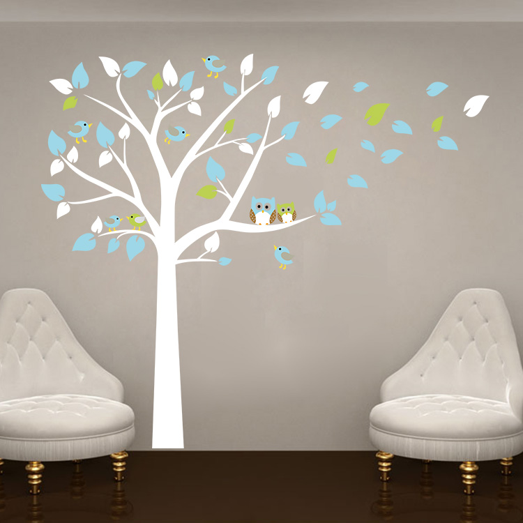 Wall sticker for baby room for Bird and owl tree wall mural set