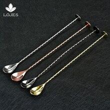Коктейльная барная ложка из нержавеющей стали с резьбой, перемешивающая ложка, инструменты бармена, Коктейльная ложка, мешалка