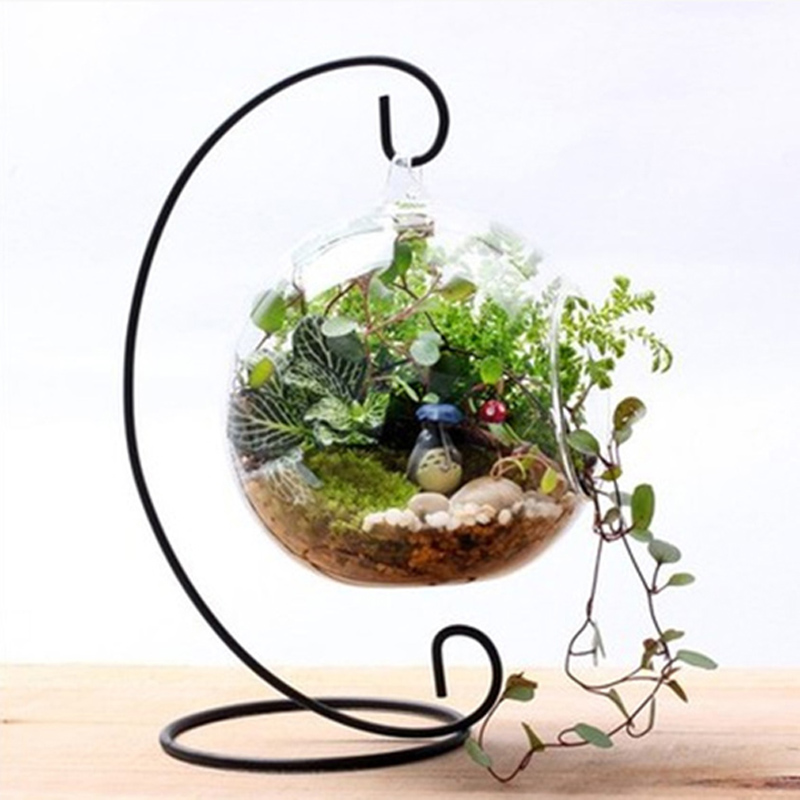 12 tommer 30 cm hængende holder Crystal Terrarium Container Uden Glas Ball Vase Potte Iron Stand Holder Decoration Home Decor
