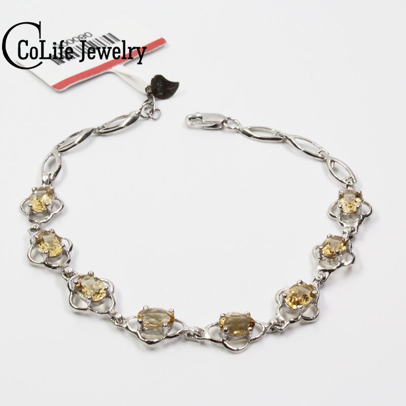 Classic silver gemstone bracelet 8 pcs natural flawless citrine silver bracelet solid 925 silver yellow crystal