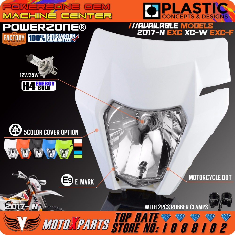 POWERZONE faro motocicleta faro para 2017 18 KTM Headligt EXC XCF SX F SMR Enduro suciedad bicicleta Motocross Supermoto H4 bombilla