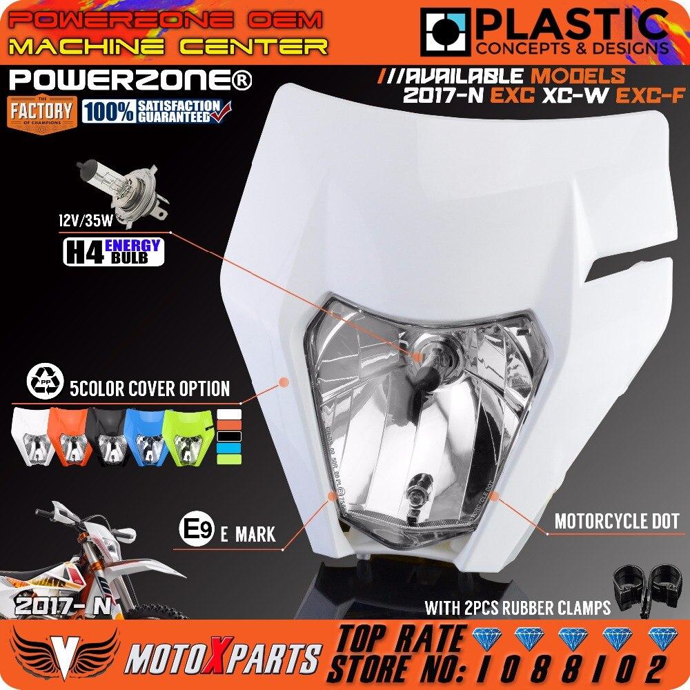 Phare de moto POWERZONE phare pour 2017 18 KTM casque EXC XCF SX F SMR Enduro Motocross Supermoto H4 ampoule