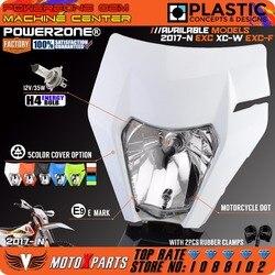 Powerzone farol da motocicleta para 2017 18 ktm headligt exc xcf sx f smr enduro bicicleta sujeira motocross supermoto h4 lâmpada