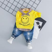 hot deal buy zwxlhh 2019 new style baby boys girls clothing sets toddler infant clothes sets children kids shirt jeans casual suit