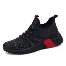 Купить с кэшбэком Men Casual Shoes Brand Men Shoes Men Sneakers Flats Mesh Slip On Loafers Fly Knit Breathable Plus Big Size Spring Autumn 5WV9773