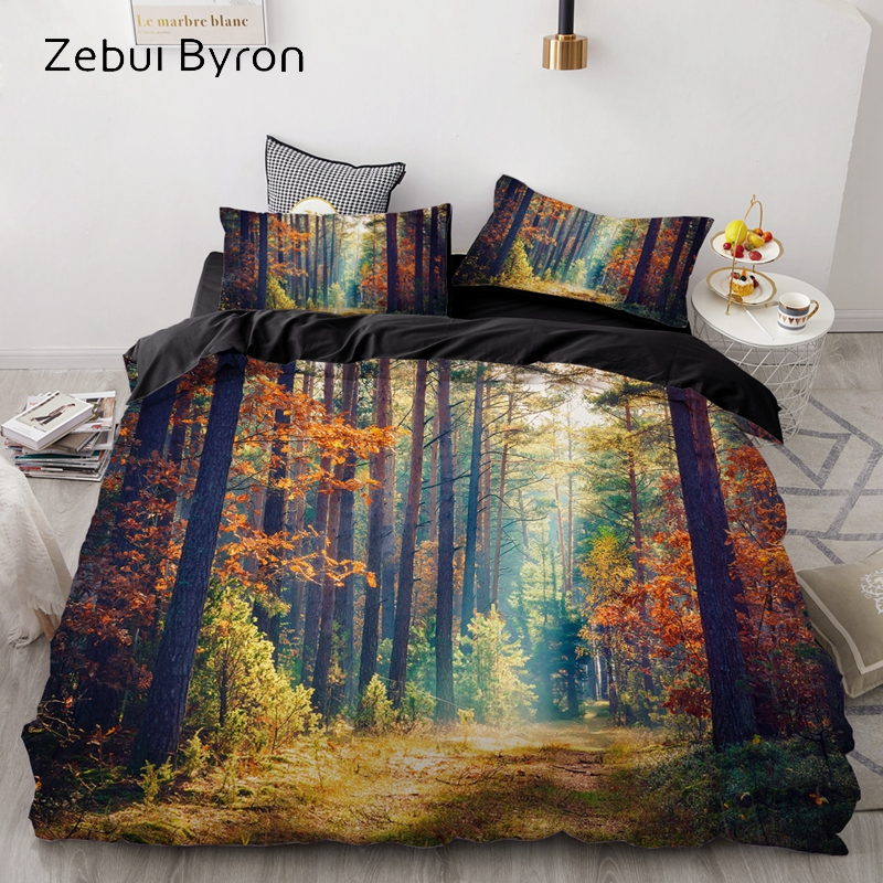 3D HD Print Bedding Set Custom/King/Europe/USA Queen,3PCS Duvet Cover Set,Quilt/Blanket Cover Set Bedclothes Autumn Drop Ship