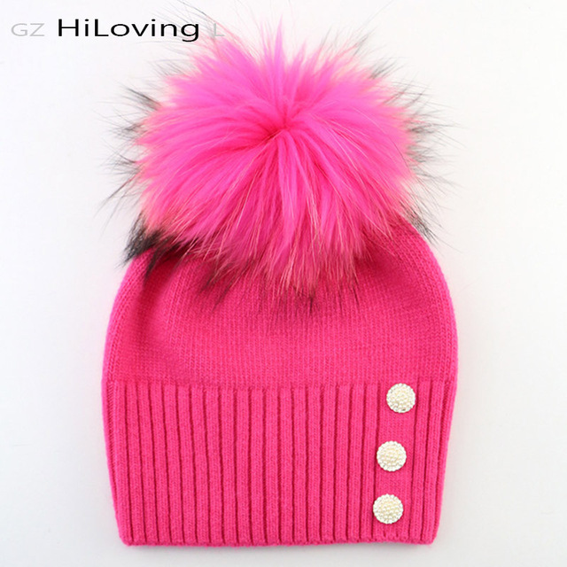 2016Trendy Brand Women's Winter Wool Beanies Hats With Big Pom Pom Women Pearl Bonnet Hats Real Fur Pompom Beanie Hats For Gilrs