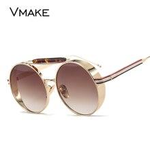 VMAKE Luxury Metal Women Sunglasses Round Sunglass Steampunk Metal Coating Glasses Vintage Retro Lentes Oculos of Female UV400
