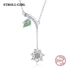 Strollgirl Spring Collection 925 sterling silver Green Leaf Sunflower Necklace Authentic Sterling Silver Jewelry