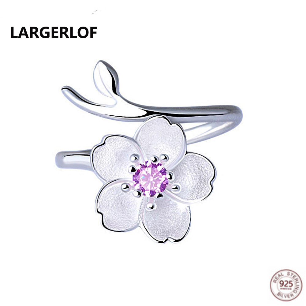LARGERLOF Real 925 Sterling Silver Ring Flower Rings Women Fine Jewelry Engagement Ring For Women RG49008