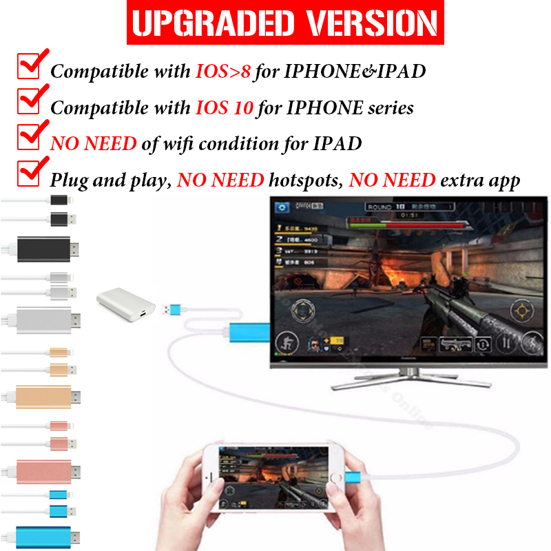HDTV Cable HDMI Cable For iPhone 5 6 6S 7 Plus font b ipad b font