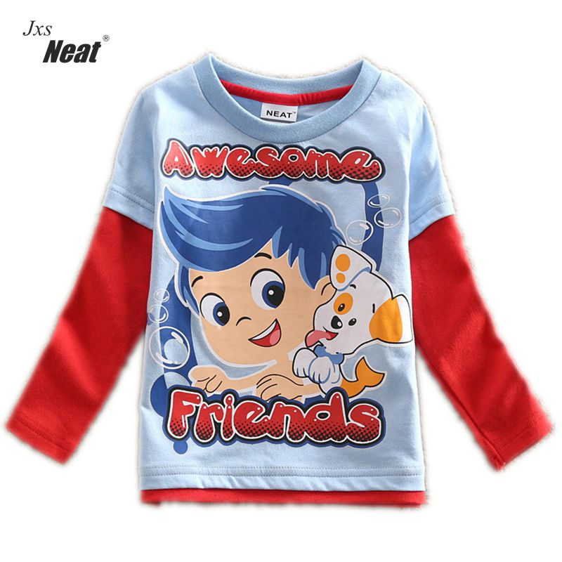 Boy long sleeves T-shirt spring and autumn brand boy printing cotton boy T-shirt children wearing Casual Kid long Tshirt A344A