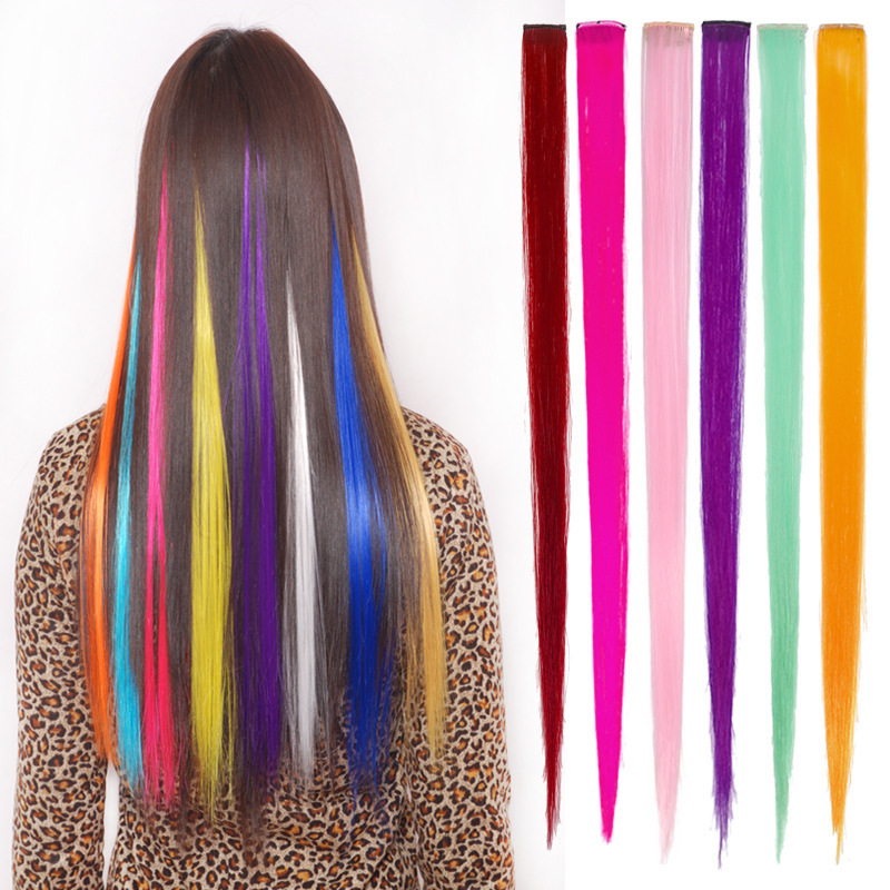 Colorful Hair Hairpin Long Snap Barrettes Straight Women Hairband Synthetic For Women Girl Extensions Pieces Hair Accessories