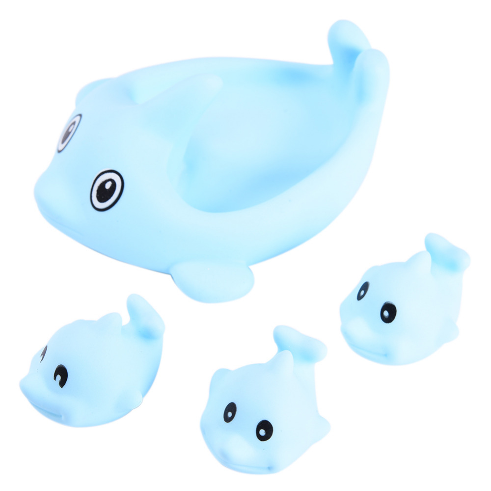 4pc/lot Cartoon Dolphin Shape Baby Bath Toys Children\'s Bathing ...