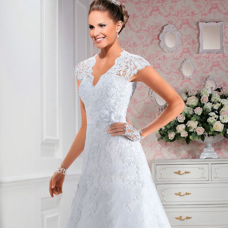 Short cap sleeves v neck lace a line wedding dress illusion lace short cap sleeves v neck lace a line wedding dress illusion lace back bridal gown with 3d flower sash vestidos de noiva in wedding dresses from weddings junglespirit Gallery