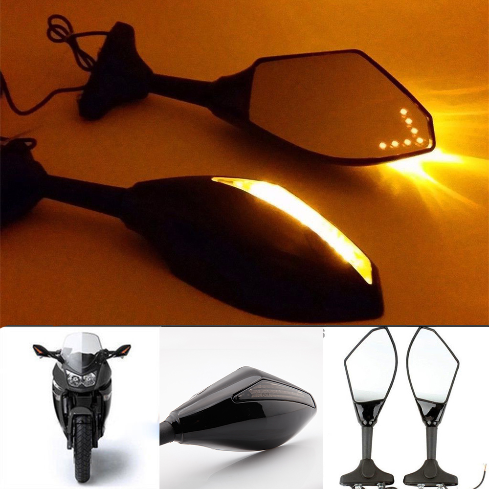 New LED Turn Signal Indicators Motorcycle Rearview Side Mirrors Retroviseur Clignotants Moto For Honda CBR 250 600 900 1000 RR