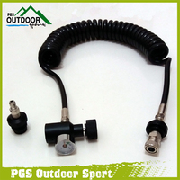 Paintball Coil Remote Hose Line w/Black Slide Check QD & 1500psi Mini Gauge 3.5m(extend)