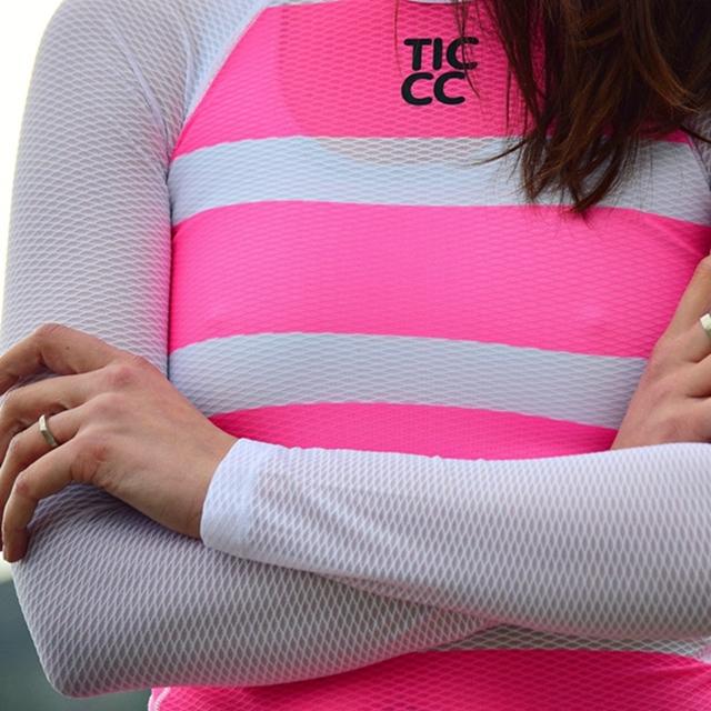 Team RC Cycling baselayer Women Polka Dot cycle underwear Pink and black mesh polyester Sportwear capa de base de malla