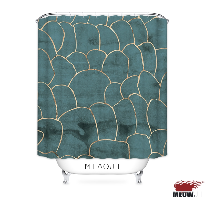 [MIAOJI] Mystery Green Golden Line Shower Curtain Multi Sizes Mildewproof Waterproof Bathroom Curtain Decor Free Shipping ...