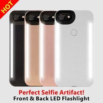 LED Lumière Selfie Téléphone Cas Lumière Flash Lumineux Téléphone Couverture Arrière Cas Pour iPhone 5S 6 s 6 s Plus 7 Plus 8 Plus X Funda Coque