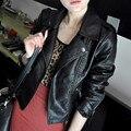 New Hot Sale mulheres 2016 primavera outono jaqueta preto e vermelho moda Slim PU couro curto Outwear Jacket C007