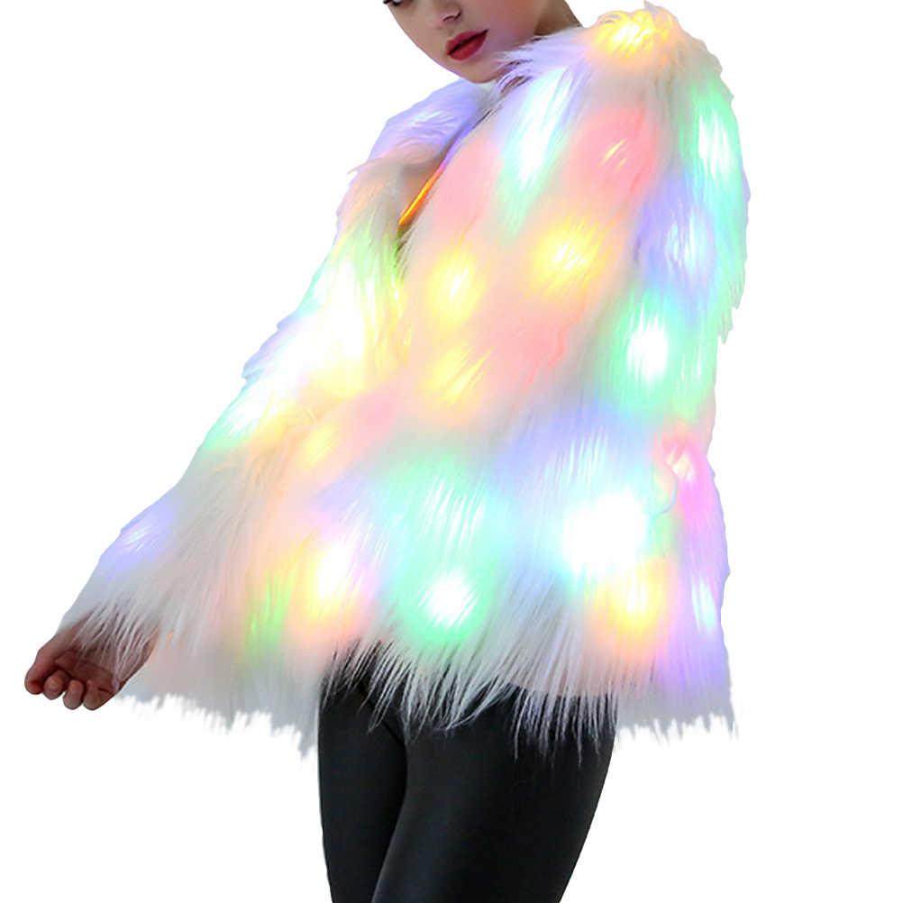 Women LED Faux Fur Coat Costumes Light Up Luminous Jackets Fur Outwear Nightclub