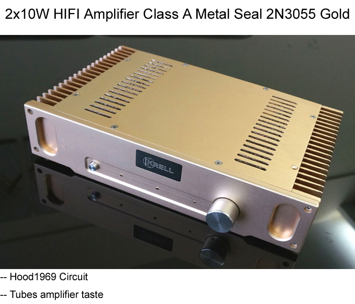 HIFI Amplifier Class A Stereo Metal Seal Transistor 2N2955 2 x 10W Hood1969 Circuit Whole Aluminum Case (Model NO: WHFA-HD1969) iwistao hifi amplifier pure class a 2x8w iwistao combined headphone amp desktop hood 1969 circuit whole aluminum case audio