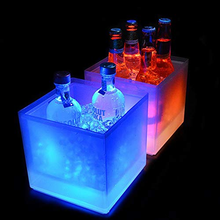 LED Ice Bucket 3.5L Colorful Changing Cooler Double Layer Square Tray For Bar Beer Champagne Wine Drinks