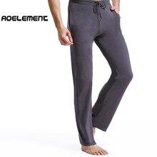 Spring men's cotton pajama pants solid color thin section Slim men's home pants large size long sleepwear bottoms