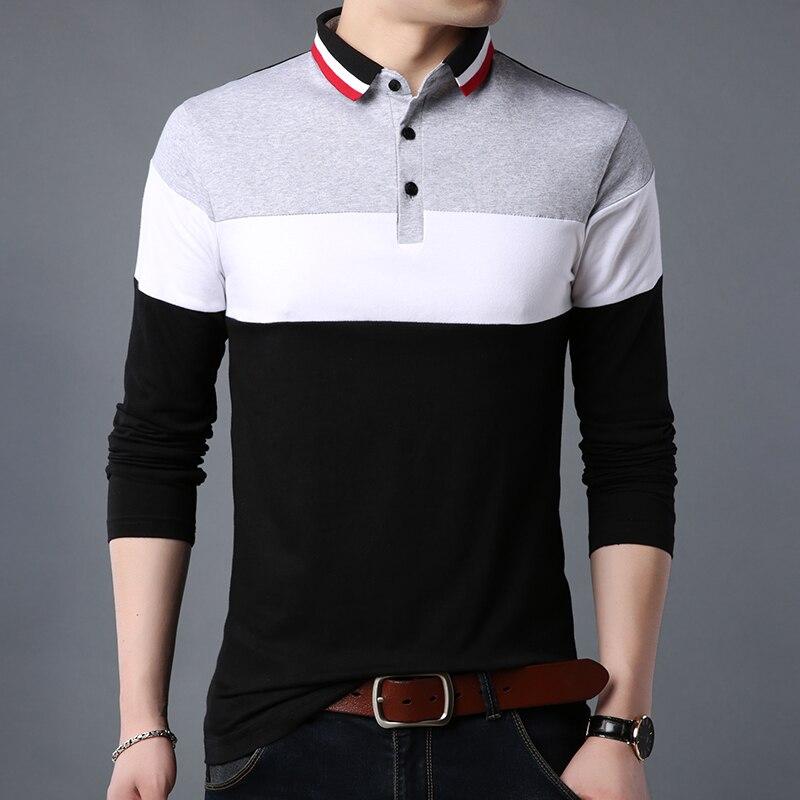 ARCSINX Plus Size Polo Shirt Men Long Sleeve Cotton Polo Men Brand High Quality Patchwork England Style Fitness Mens Polo Shirts