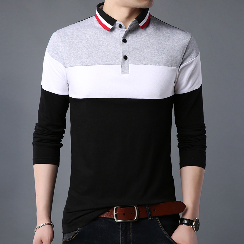 ARCSINX Plus Size   Polo   Shirt Men Long Sleeve Cotton   Polo   Men Brand High Quality Patchwork England Style Fitness Mens   Polo   Shirts