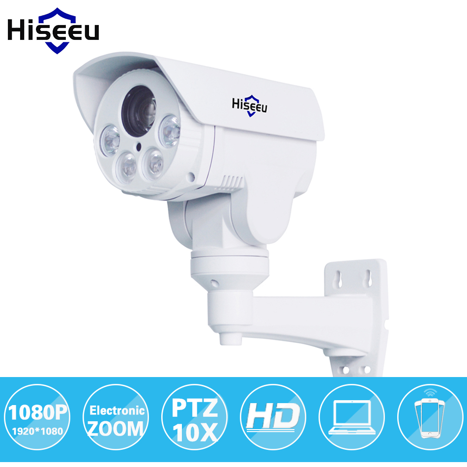 HD 1080P 10X Zoom PTZ IP Camera Bullet HD Project Night Vision Waterproof IRCUT ONVIF P2P ONVIF POE HD402 Hiseeu HD402 hd 1080p ti onvif 3 6mm infrare bullet ip camera build in poe