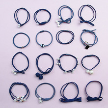 12pcs/16pcs Girls Hair Band Colorful Cute Pearl Bow Elastic Rubber Bands Ropes Ponytail Tie Gum Accessories