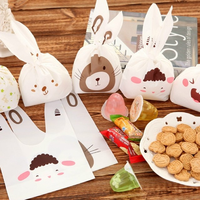 20pcs/lot Cute rabbit ear cookie bags Self-adhesive Plastic Bags for Biscuits Snack Baking Package food bag party send random