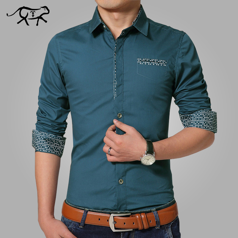New 2017 spring casual men shirt cotton mens dress shirt for Men s regular fit shirts