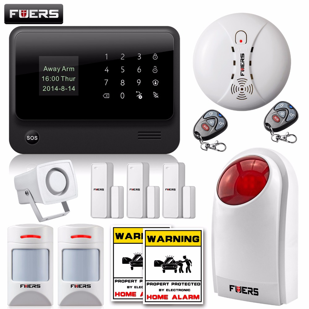 FUERS WiFi GSM SMS Home Alarm System Security Alarm+New wireless pet-friendly pir motion detector+waterproof strobe siren wireless smoke fire detector for wireless for touch keypad panel wifi gsm home security burglar voice alarm system